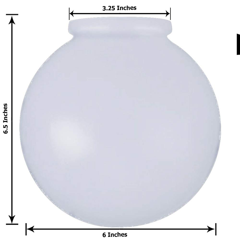 KOR K21815 6-Inch White Glass Globe Lamp Shade - 3-1/4-Inch Fitter Opening - Lighting Fixture Replacement
