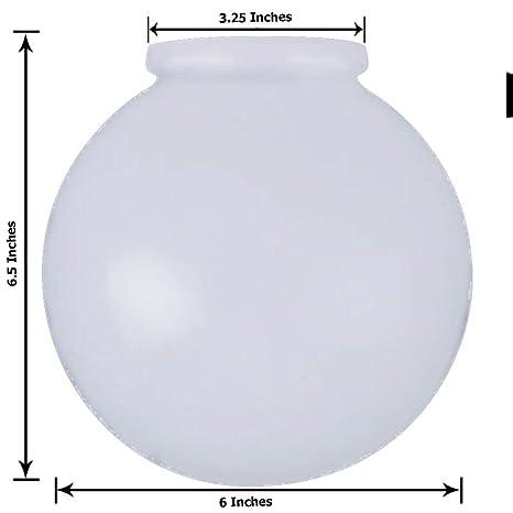 Kor K21815 6 Inch White Glass Globe Lamp Shade 3 14 Inch Fitter