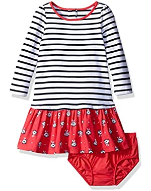 Baby Girls' Striped Puppy Print Dress