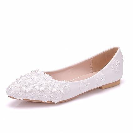 Mujer Nupcial Zapatos Para Novia Mujer Blanco Ponerse Boda Cordón Resplandecer Mocasines Bajo Talones Señoras Ballet