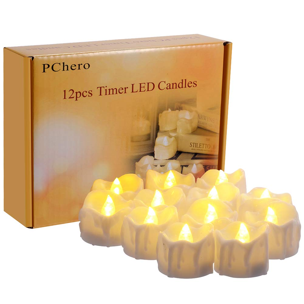 Timer Candles, 12pcs PChero Battery Operated LED Decorative Flameless Candles Flickering Tea Light, 6 Hours On and 18 Hours Off Per Cycle, Perfect for Birthday Wedding Party Home Decor - [Warm White]
