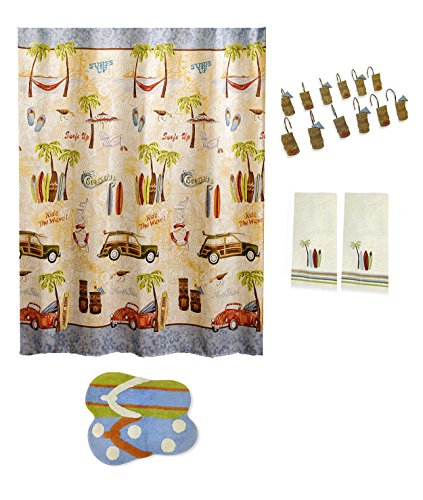 Gone Surfing Bathroom Shower Curtain Tiki Hooks Flip