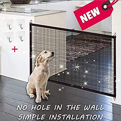 KSNOW Magic Gate - portable folding safety barrier for dogs, plastic, security separator for dogs to be installed anywhere, isolated security door for dogs and pets (43 in * 29 in)
