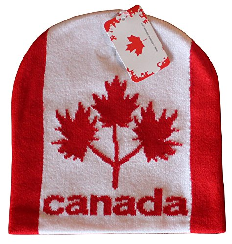 Canadian Themed Toque - Three Maple Leaves (Red   White) 6c44b3a9c219