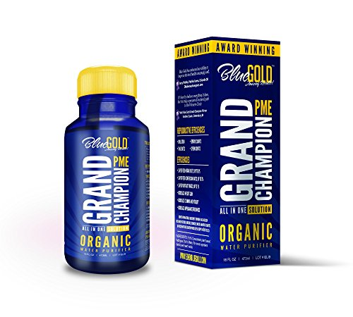 Blue Gold Grand Champion Liquid Pet Supplement Study Proven Against Leading Pet Antibiotic. Increase Pet Health, Immune System, Reproduction, Energy, Appetite/Water Intake. Pet Vitamin Fixes BioFilm. - Gold La Grande