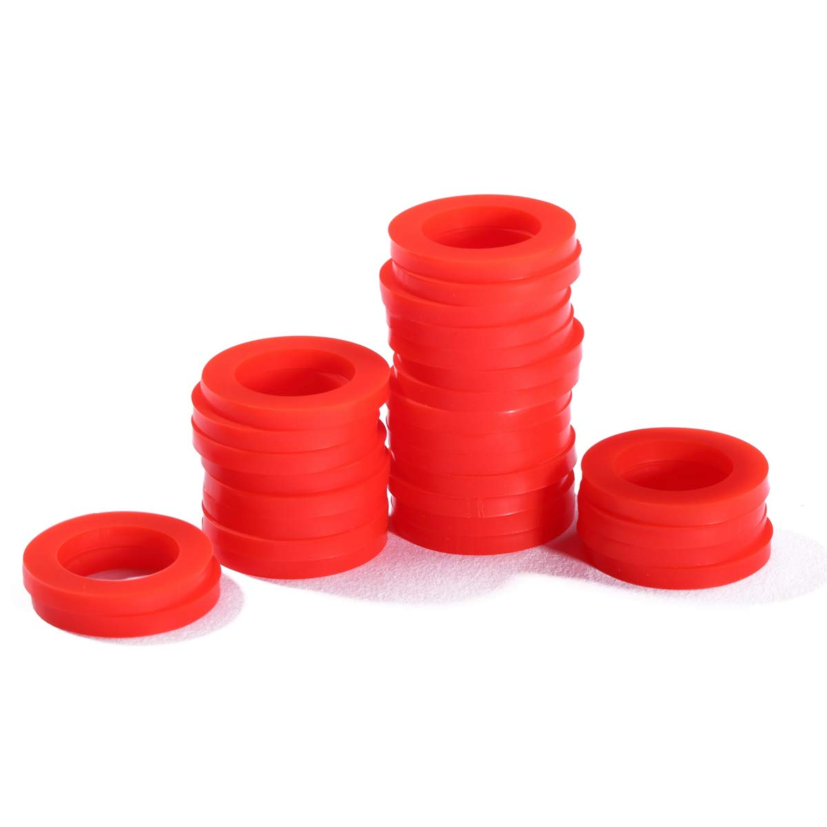 Litorange 50 PCS Leak Preventing Silicone (Better Than Rubber) Showerhead Gasket Washer, Red, 3/8 Inch x 3/4 Inch x 1/8 Inch.