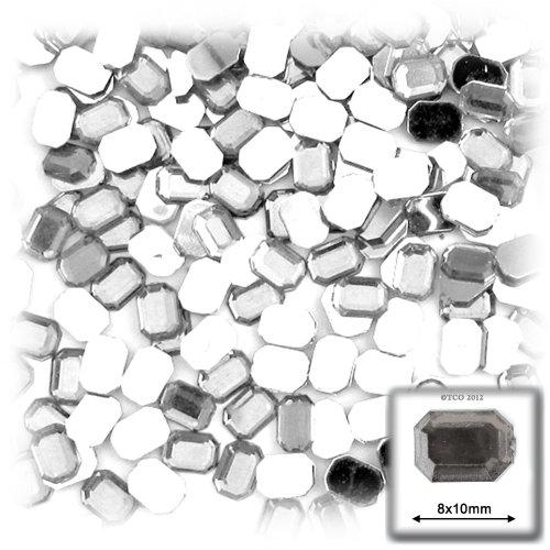 長方形の八角形クラフトアウトレット144アクリルアルミ箔フラットバックラインストーン、8by 10mm、クリアの商品画像