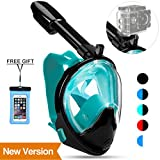 Poppin Kicks Full Face Snorkel Mask for Adult Youth and Kids | 180° Panoramic View Anti-Fog Anti-Leak Easy Breathe No Mouthpiece Design | GoPro Compatible w/Detachable Camera Mount Green S/M