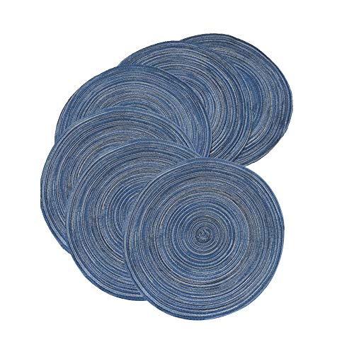 REMEE Set of 6 Round Placemats,14 Inch Cotton Braid/Woven Edge Placemats/Charger for Party Wedding Washable Table Mats (6, Blue)