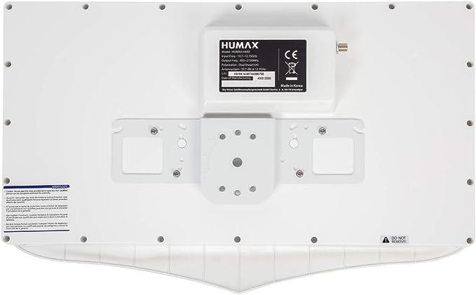 Humax digital h40d Flat Espejo Sat Antena Plana para 1 x participantes, Color Blanco