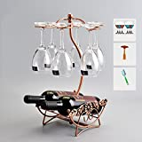 TY&WJ [iron] Wine bottle holder Creative European style [decoration] Wine shelf [household] Bar Wine rack Presented wine glass-Q 23x18x43.5cm(9x7x17inch)