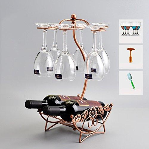 TY&WJ [iron] Wine bottle holder Creative European style [decoration] Wine shelf [household] Bar Wine rack Presented wine glass-Q 23x18x43.5cm(9x7x17inch) by TY&WJ