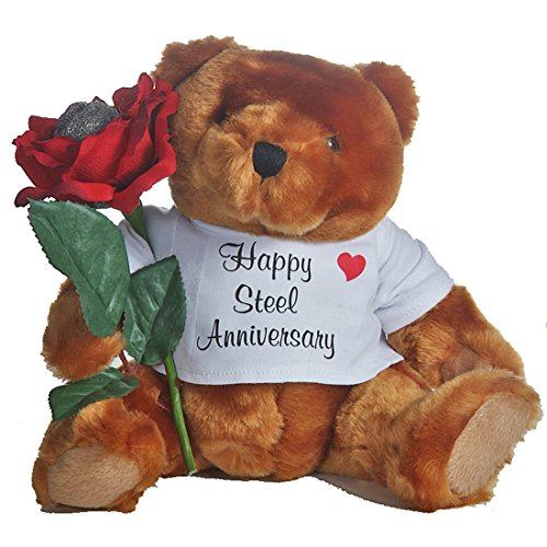 Happy 11th Wedding Anniversary Teddy Bear with Steel Wool Rose Gift