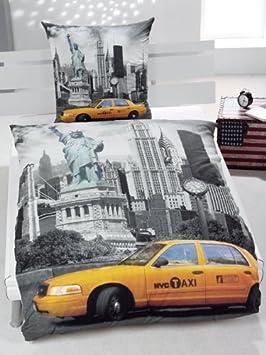 Parure Housse De Couette Lit 1 Personne Chambre Enfant New York Taxi