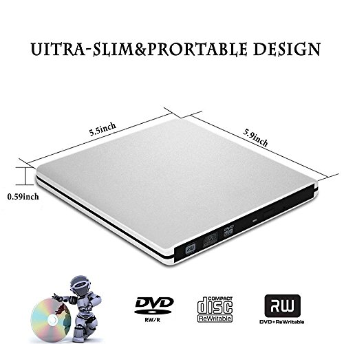 External DVD CD Drive, Sunreal USB 3.0 Portable CD/DVD-RW Player/Burner/Writer, Optical DVD Superdrive for Laptop/Desktop/Computer Support Windows by Sunreal (Image #3)'