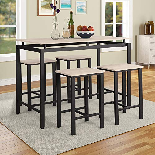 P PURLOVE 5Pcs Dining Table Set Modern Style Wooden Kitchen Table and 4 Chairs with Metal Legs, - Rectangular Table Oak Set Dining