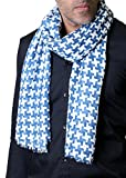 Anika Dali Men's Classic Blue and White Print Houndstooth Scarf, Lightweight, Soft