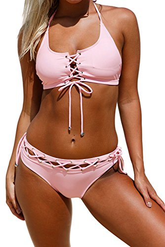 Aleumdr Womens Sexy Crop Tops Push Up Strappy Padding Lace Up Halter Bralette Bikini Set Swimsuit With Swim Briefs Plus Size 2XL US 18-20 Size Pink