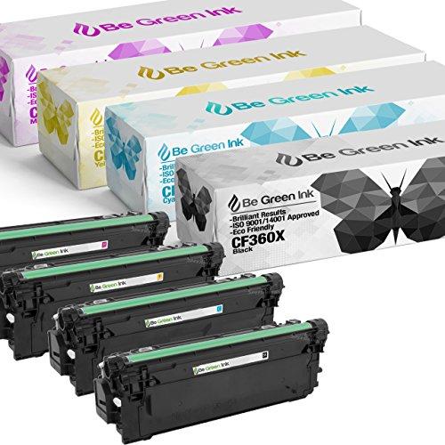 Be Green Ink Compatible Toner for HP 508X m553dn Color LaserJet Enterprise M552dn, M553, M553n, M553x,Flow MFP M557, M557c, M577z, M577f, M577 High Yield 4-pack Toner (CF360X CF361X CF363X CF362X) ()