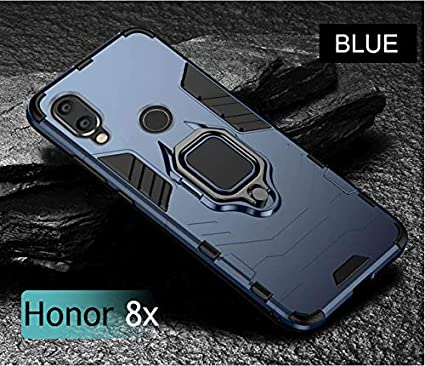Huawei Huawei Honor 8X Case Mobistyle Sleek Metal Ring Stand Hybrid PC &  Silicone Phone Back Cover Case for Honor 8X (Metallic Blue)