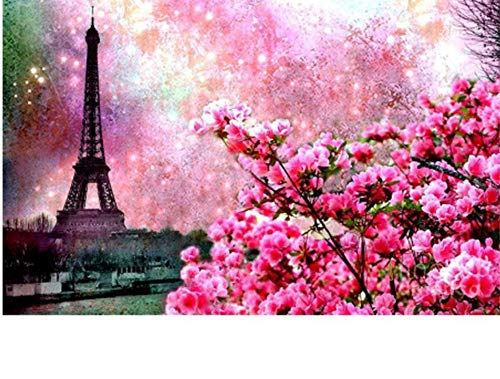 Jigsaw Puzzle 1000 Piece Flower and Tower Baskets Home Decor Living Room Kits Classic Puzzle 3D Puzzle DIY Kit Wooden Toy Unique Gift Home Decor