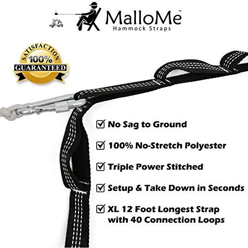 XL Hammock Straps - Hammock Tree Straps Set Versatile 2000+ LBS Heavy Duty 40 Loops & 100% No Stretch Suspension System Kit - Camping Hammock Accessories | 2 Carabiners