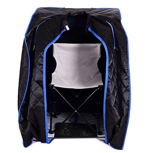 Black Portable Far Infrared Steam Sauna Spa With Chair Full Body Slimming Loss Weight Detox Therapy Home Tent Pot Machine Heater Indoor Therapeutic Therapy Reduce Pressure Tension Lightweight Design by HPW