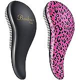 BOMBEX Detangler Brush-2 pack - No Tangles & Knots, Best Detangling Brush for Tangled Hair,Pink Leopard & Matte Black