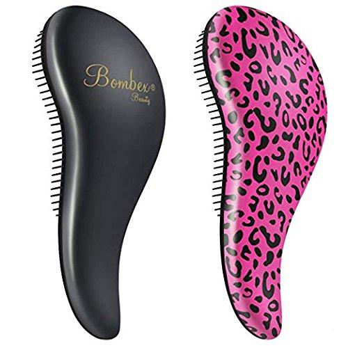(BOMBEX Detangler Brush - No Tangles & Knots, Best Detangling Brush for Tangled Hair,Set of 2,Pink Leopard & Matte Black)