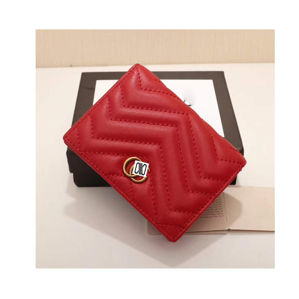 レザー財布 二つ折り財布 クラッチ財布 リストレットカードホルダー付き one size レッド  レッド B07KVKDNJV