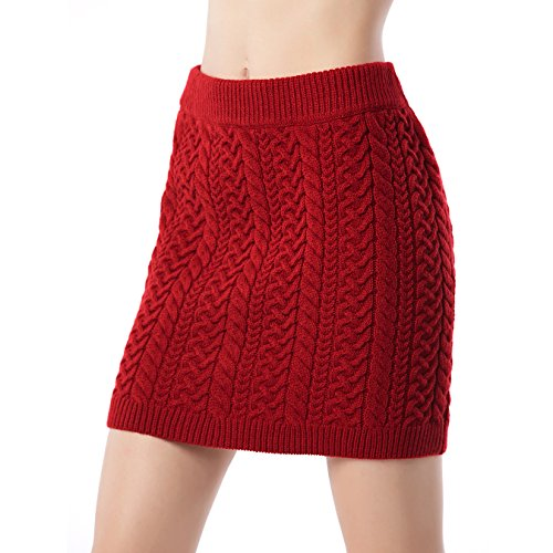 Wool Suit Red Skirt (Beauty Garden Women's Wool Sweater Knit Bodycon Fit Sexy Short Skirts)