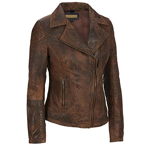 Wilsons Leather Adult Plus Size Web Buster Asymmetric Zip Antique Leather Cycle - Web Leather