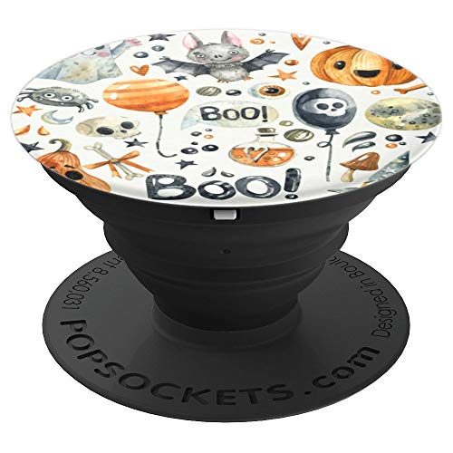 Spooky Halloween - Boo Bat Pumpkin Skull Witch Spider - PopSockets Grip and Stand for Phones and Tablets ()
