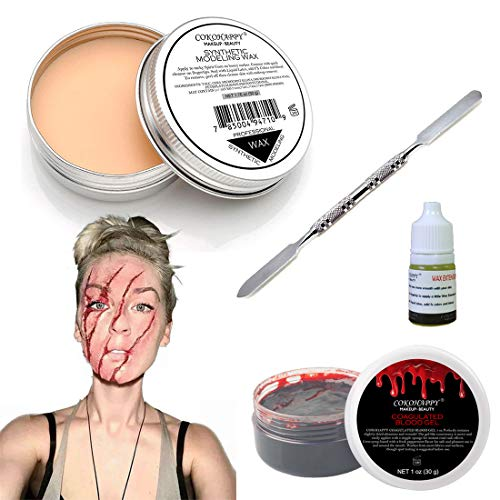 COKOHAPPY Halloween Party Stage Special Effects Wound Scar Nude Color Putty/Wax (1.76oz) + Fake Scab Blood (0.7oz) + Oil (0.17oz) + Spatula Tool Family Makeup Kit