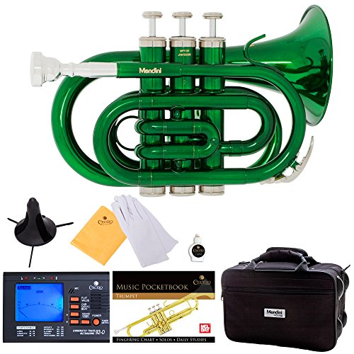 Mendini MPT-GN Green Lacquer Brass Bb Pocket Trumpet with One-Year Warranty, Tuner, Stand, Pocketbook, Mouthpiece and Deluxe (Copper Inlay Mouth)