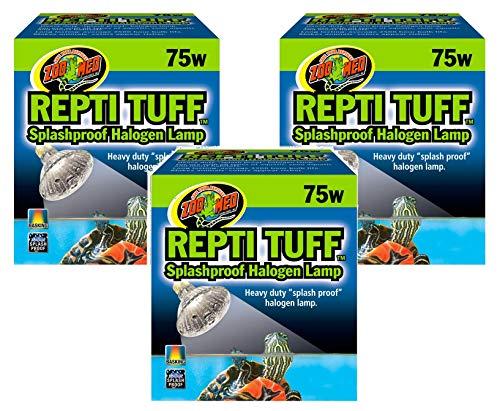Zoo Med Turtle Tuff Splash - Zoo Med Repti Tuff Splashproof Halogen Lamps 75 Watts (3 Pack)