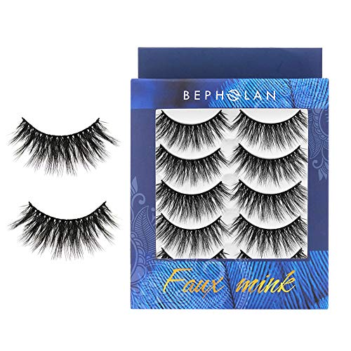 BEPHOLAN 5 Pairs False Eyelashes Synthetic Fiber Material | Natural Round Look | Cruelty-Free and Handmade | Easy to Apply | 3D Faux Mink Lashes(XMZ112)