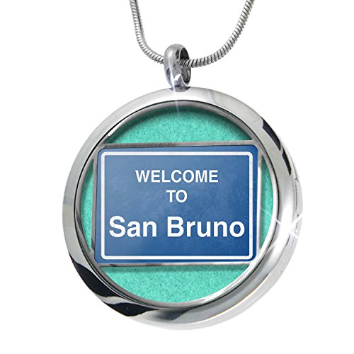 NEONBLOND Sign Welcome To San Bruno Aromatherapy Essential Oil Diffuser Necklace Locket Pendant Jewelry Set