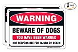 (2 PACK) Beware of Dog Warning Sign, Large 10''X7'' Aluminum, For Indoor or Outdoor Use -USA Made Of Rust Free Aluminum-UV Printed With Professional Graphics-Easy To Mount By SIGO SIGNS