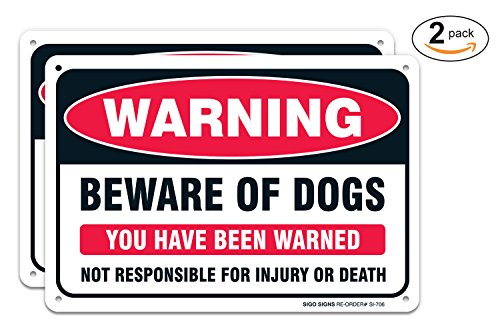(2 Pack) Beware of Dog Warning Sign, Large 10X7 Aluminum, for Indoor or Outdoor Use -USA Made of Rust Free Aluminum-UV Printed with Professional Graphics-Easy to Mount by SIGO SIGNS