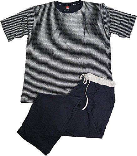 Hanes Men's Jersey Knit Pajama Set, Dark Navy, Large
