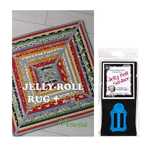 Jelly Roll Bundle: RJ Designs Jelly Roll Rug Plus Pattern and Pauline's Quilters World Jelly Roll Sasher Tool