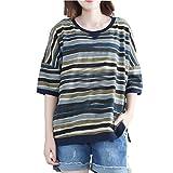 OSTELY Women's Casual Plus Size Striped Patchwork Short Sleeve Top T-Shirt Blouse(Blue, XXXXX-Large)