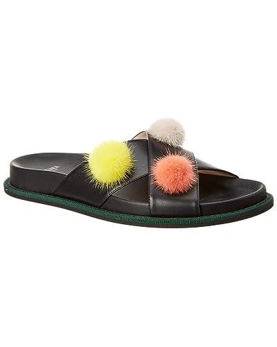 7cb4d0cd4742 Fendi Women s Leather Pom-Pom Flat Sandal Shoes Black  Amazon.co.uk  Shoes    Bags