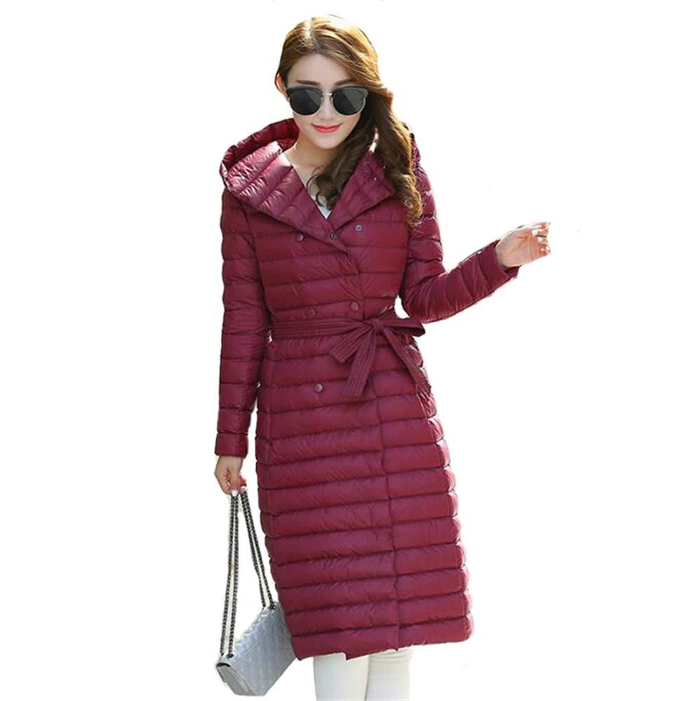 2 Autumn Winter Women Duck Downs Jacket Parkas Sashes Long Down Coat Ladies Ultra Light Outerwear Hooded Coats Plus Size