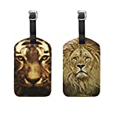 JIUMEI Tiger Head Red Eyes Lion Animal 2 Pack PU Leather Suitcase Luggage Tags Travel Luggage Tag Name Identifier