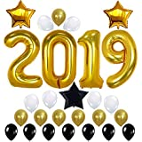 2019 Balloons, Gold for New-Year, Large Size | Black and Gold Balloon Kit | New Years Eve Party Supplies 2019 | Graduations Party Supplies 2019 | New Years Party Decorations, Graduations Decorations