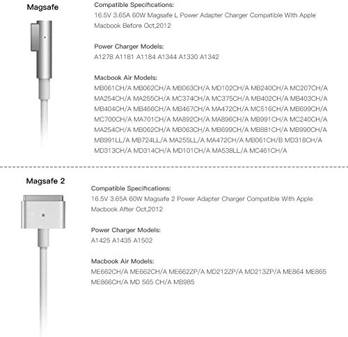 MacBook Pro 13-13.3 inch Charger,60 W L-Tip Magnetic AC Power Adapter Charger for MacBook Pro