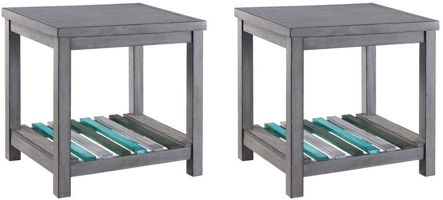 Naomi Home Gallaway Occasional End Tables – Set of 2-Square End Tables Gray Blues