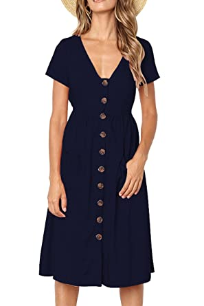 4b2d8bc4e44 Boosouly Womens Sexy Deep V Neck Short Sleeve High Waist Pockets Sundress  for Party Navy S